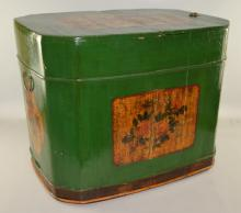 Green painted box, 72 long x 54 wide x 57 cm high