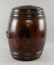 Lacquered barrel shaped container. 45 cm High