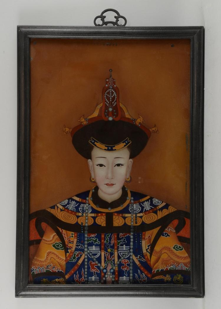 Chinese ancestral portrait on glass, 59cm x 39cm,