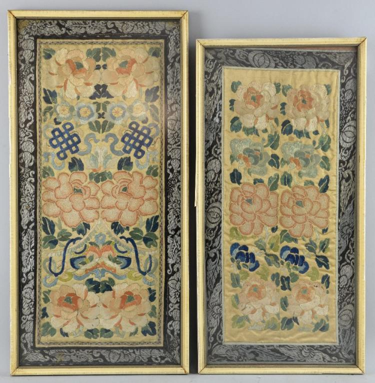 Two Chinese silk sleeve panels embroidered with a