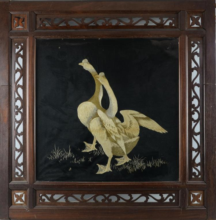 19th century Chinese silk work picture of geese, i