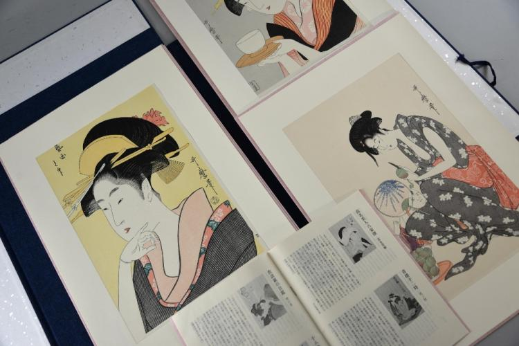 Nine Japanese woodblock prints, each depicting a d