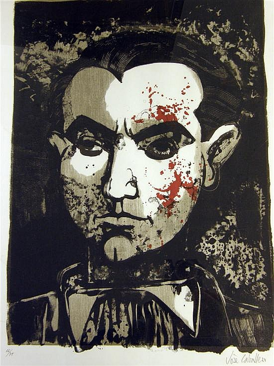 Jose Caballero (1916-1991), coloured print, portrait study of Frederico Garcia Lorca, signed in pencil & numbered 66/75