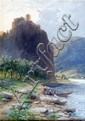 A.Muhlig, Mountain and river landscape with figures by a boat, signed