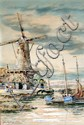 REVISED ESTIMATE: £30-50. Watercolour Dutch scene with windmill boats and figures, signed