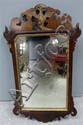 19th century wall hanging mirror with fretwork decoration,