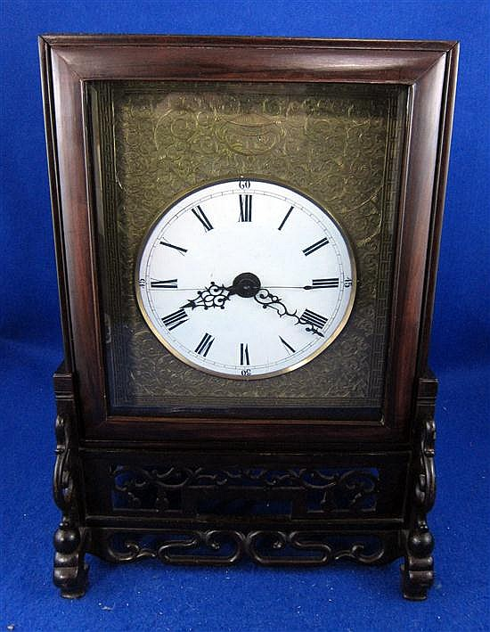 19th century Chinese rosewood cased mantel clock