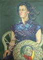 R Lumley - portrait of Anne?, oil on canvas, signed, partial label to verso, 33 x 27in