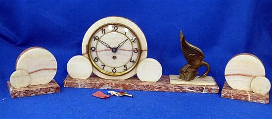 Art Deco marble and pewter clock garniture,