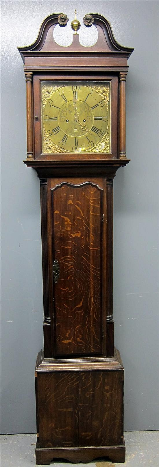 18th century oak long case clock by John Smith of Chester,