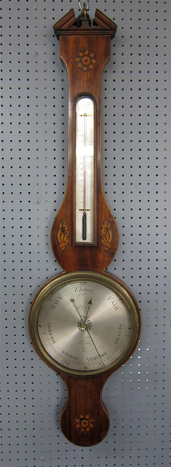 19th century mahogany and marquetry inlaid barometer by Gatty of London