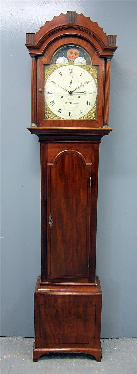 Late 18th/early 19th century eight day mahogany longcase clock, by Nichols, Isle of Wight.