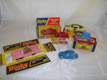 A group of mainly boxed cars by Dinky and others to include a Dinky Toys Lady Penelope's Fab 1.  G in F-G boxes (where boxed) 6 (4 boxed, plus 1 part box)