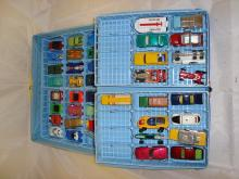 A Matchbox Cars carry case containing a selection of Matchbox, Husky, Corgi and Impy vehicles. F-G unboxed
