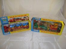 A pair of Matchbox King-Size lorries in boxes to include a K-20 King Size tractor transporter and a K-17 King Size Low Loader with Bulldozer. G-VG in F-G boxes (2)