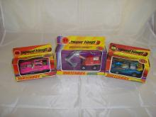 A group of Matchbox vehcles to include two Speed Kings cars and a Super Kings model. G-VG in F-G boxes (3)