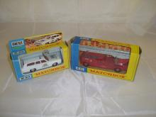 A pair of Matchbox emergency vehicles to inlcude a K-23 King Size police car and a K-15 Fire Engine. G-VG in F-G boxes (2)