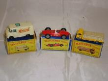 A group of three Matchbox Lesney vehicles to include a number 62 TV Service Van, a number 73 Racing Car and a number 51 Cement Truck.  F-G in F-G boxes (3)