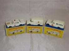 A group of Matchbox Lesney emergency vehicles to include a number 55 Police Car, a number 14 Ambulance and a number 3 ambulance. G-VG in G boxes (3)