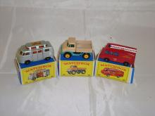 A group of three Matchbox Lesney vehicles to include a number 34 campervan, a number 49 Unimog and a number 57 Kent Fire Brigade truck.  G-VG in G boxes (3)