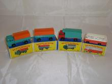 A group of Matchbox vehicles to include a boxed number 1 and number 2 (truck and trailer) a number 44 and a number 69 bus. G-VG in G boxes (4)