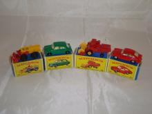 A group of Matchbox vehicles to include a number 43 tractor, number 64, 65 combine harvester and 67. G-VG in G boxes (4)