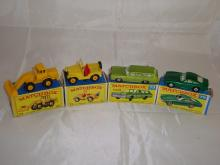 A group of Matchbox vehicles to include a number 69 digger, number 72 Jeep, number 73 and number 75.  G-VG in F-G boxes (4)