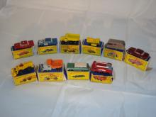 A group of Matchbox 1:75 series cars and trucks in original boxes as lotted. Generally G in P-F boxes (10)