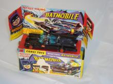 A boxed dieast Corgi 267 Batmobile G-VG in F-G box, with figures, instructions, 7 rockets and original lapel sticker, no tow hook.