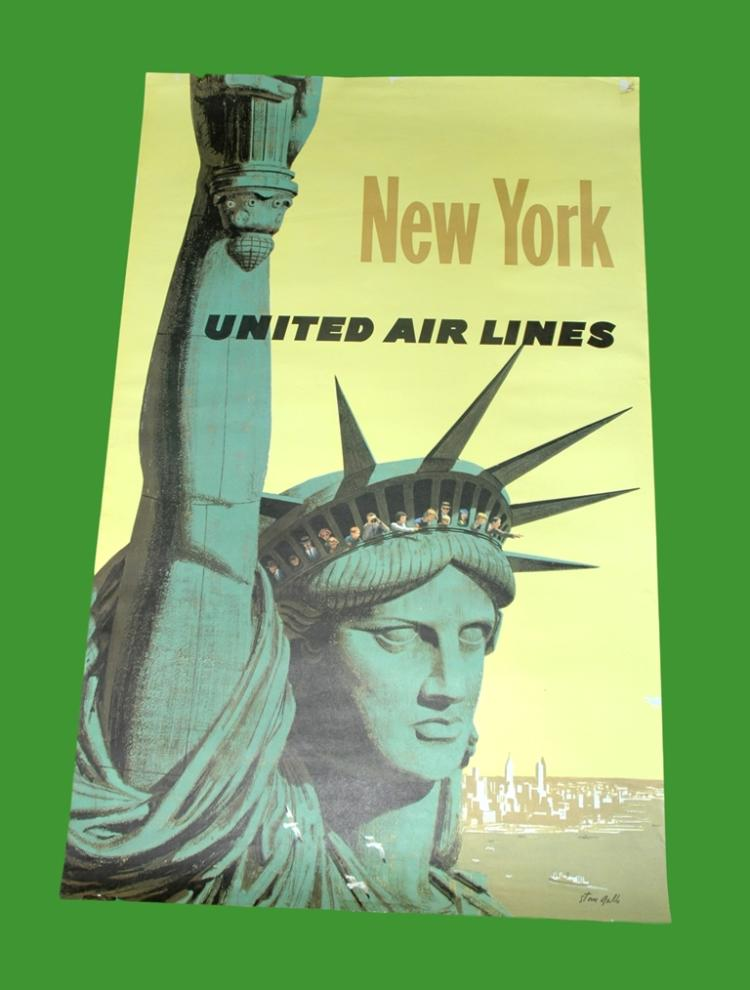 1960s united airlines travel poster new york art by sta. Black Bedroom Furniture Sets. Home Design Ideas
