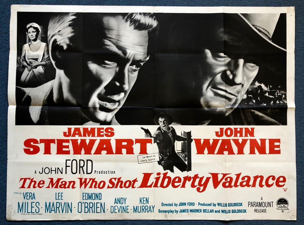 THE MAN WHO SHOT LIBERTY VALANCE (1962) - BRITISH UK QUAD FILM ...