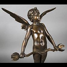 After Auguste MOREAU (1834-1917). Vici, babbitt metal lamp