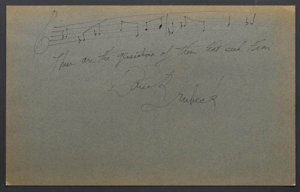 "Dave BRUBECK, pianiste - Partition de sa main et dédicace ""These are the generations of them that se"