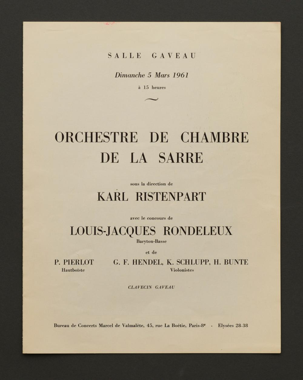 Louis Jacques RONDELEUX - Programme salle Gaveau, 1961 - dédicacé par le Baryton basse - 27 x 21 cm