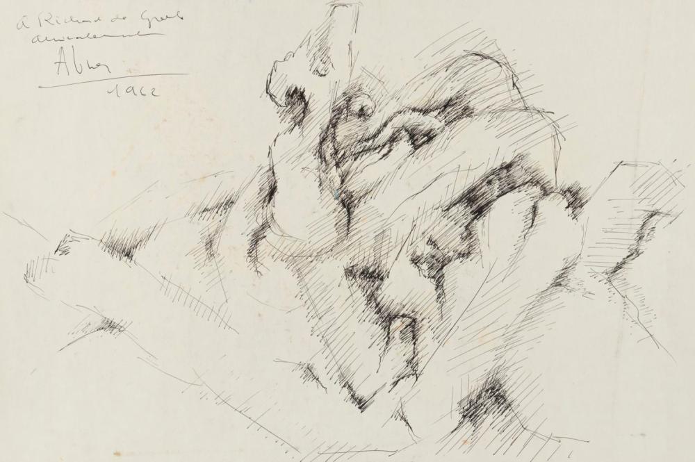 """Raymond ABNER (1924-1999)- Composition - Dédicacée à Richard de Grab """"Amicalement"""" - 1962 - Pliure ,"""