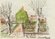 Édouard DERMIT (1925-1995)- Maison dans un paysage - Pastel gras - Dédicacé et signé en bas à droite
