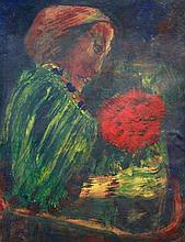 Ecole du  XXème siècle - Femme pensive -  Papier maroulfé sur toile - 65 x