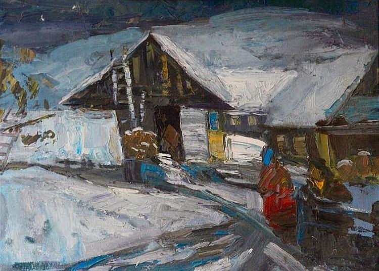 Ecole XXème siècle  - Maison sous la neige - Huile sur toile non signée - 4