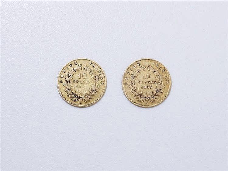 Lot en or 750 millièmes composé de 2 pièces de 10 francs Napoléon III datée