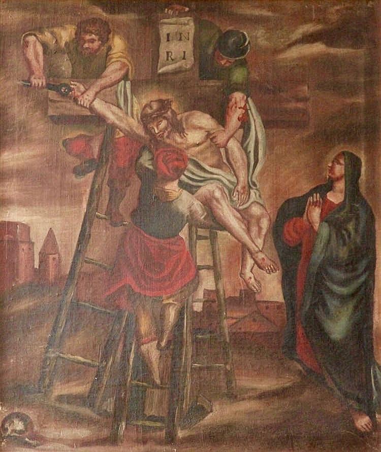 Ecole espagnole - La déposition - Huile sur toile non signée - Usures et ma