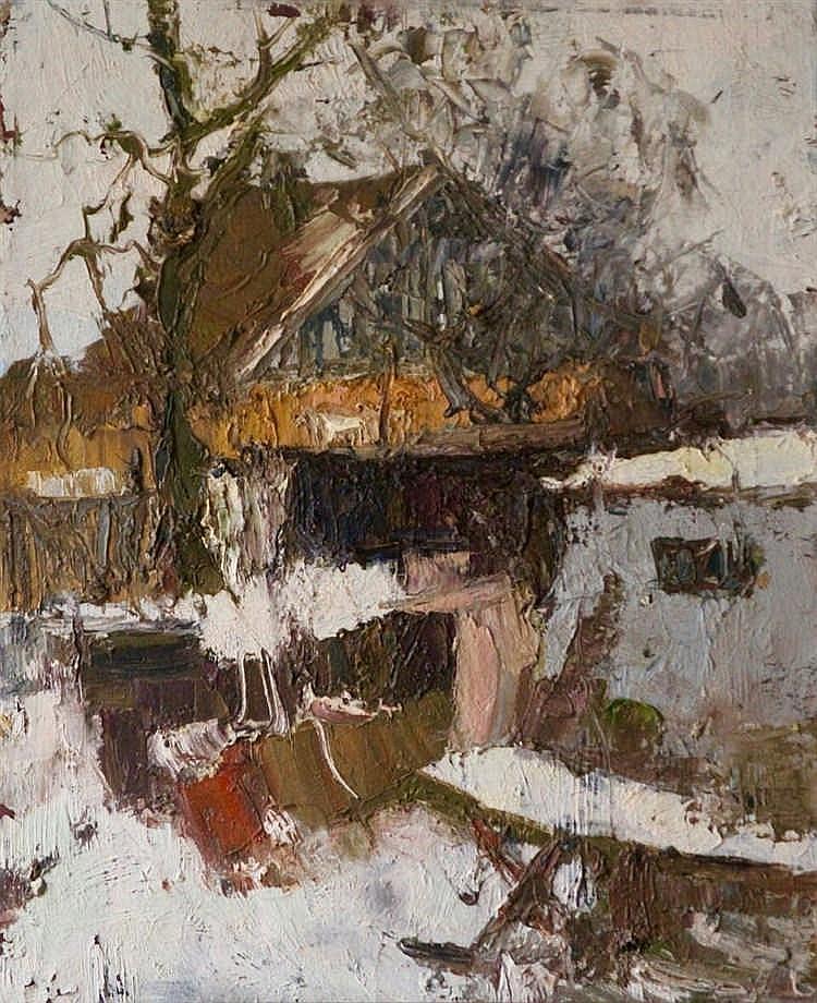Ecole XXème -Maison en hiver - Huile sur toile non signée - 50 x 40 cm