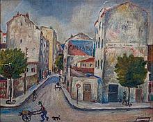Anonyme - Vue citadine - Huile sur panneau non signée - 38 x 46 cm  Mod