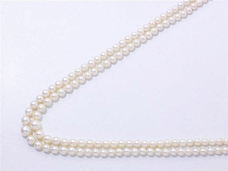 Collier composé de 2 rangs de perles de culture en chute d'environ 5 à 7.7