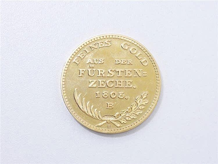 Médaille commémorative en métal doré datée 2006, imitant un ducat allemand