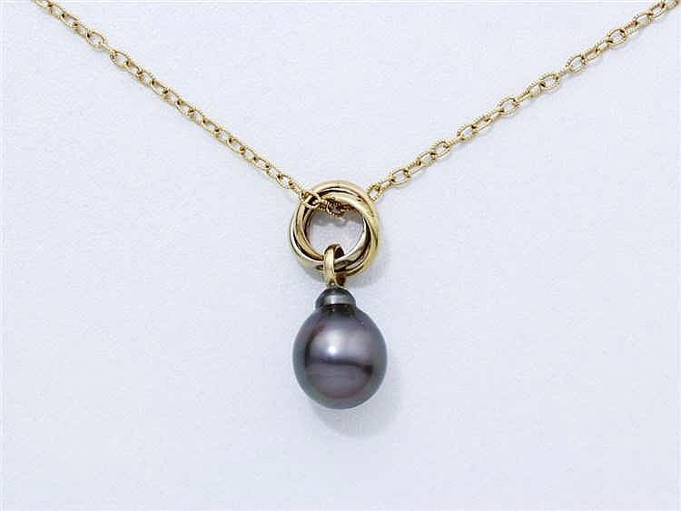 Pendentif en or 750 millièmes retenant une perle grise en goutte d'environ