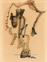 Jean Michel ATLAN (1913-1960)Composition abstraite, encre et aquarelle signées en bas à droite, 16 x 12,5 cm - Ancienne collection de M. Guedy