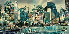 JOSEPH KLIBANSKY (Né en 1984) Asia by Night - Photographie et technique mixte signée en bas à droite, titrée, datée et numérotée  au dos 1/7  - 160 x 82 cm - Certificat en date du 7/02/2010