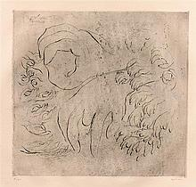 Jean FAUTRIER (1898-1964)  Etude de mains - Heliogravure, eau forte et aquatinte en noir sur verger d'Auvergne filigrané Ambroise Vollard signé au crayon en bas à droite et numérotée 26/50 - 56 x 74 cm - Mason 119 - Engelberts 1942/1