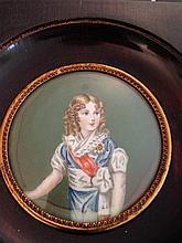 Deux miniatures sur ivoire,portrait de jeune femme noble et un portrait de l'Aiglon, Diamètre : 7 cm