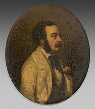 Ecole française du XIXème siècle - Portrait d'homme aux favoris et à la moustache - Huile sur toile monogrammée L.B. - 26 x 22 cm - Cadre de style Louis XVI accidenté